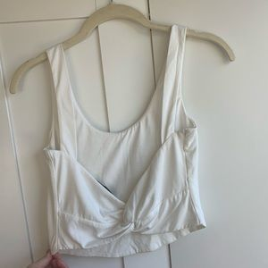 Majorelle White Crop Tank with Twisted Bow Back!